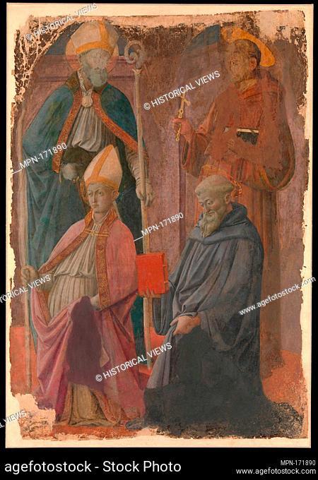 Saints Augustine and Francis, a Bishop Saint, and Saint Benedict. Artist: Fra Filippo Lippi (Italian, Florence ca. 1406-1469 Spoleto); Medium: Tempera on paper