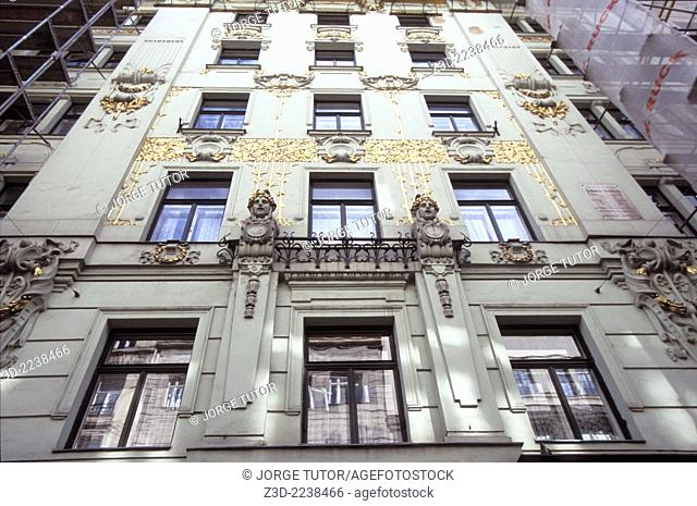 Art Nouveau building in Vienna, Austria