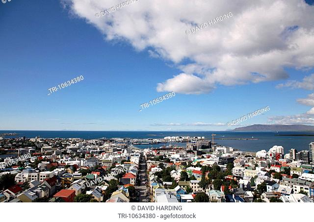 Iceland Reykjavik city aerial seen from cathedral