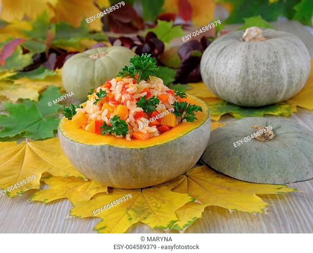 Rice with vegetables in a pumpkin