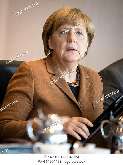 German Chancellor Angela Merkel attends a cabinet meeting at the Federal Chancellery in Berlin, Germany, 23 September 2015