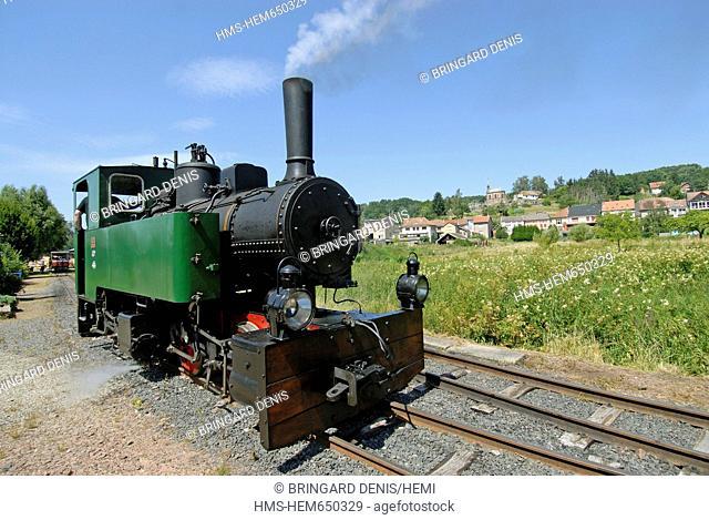 France, Moselle, the Red Saar Valley, Abreschviller, Train iron forest, the departure station, steam locomotive 1906 Heilbronn, tourist walks 6 km, in July