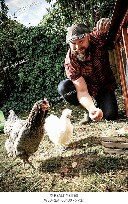 Man in his own garden, man holding egg of free range chickens
