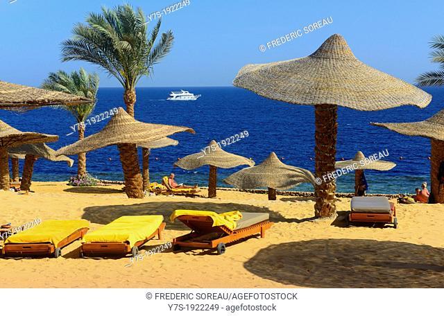 the private beach of Ritz-Carlton resort,Sharm El Sheikh,Egypt
