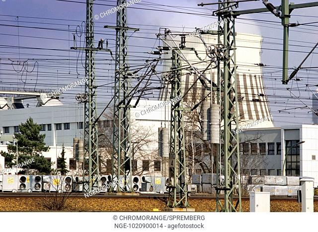 View over Rail Tracks on Power Station in Berlin, Germany