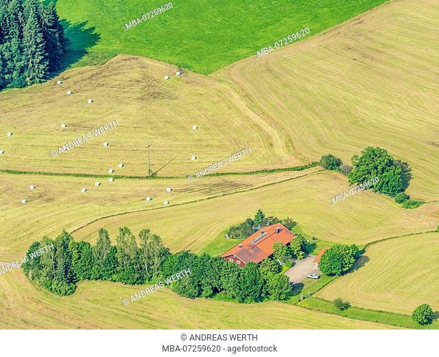 Lonely farm house surrounded by meadows, aerial view, slope of bavarian alps near Oberstdorf, Allgäu, Allgaeu, Bavaria, Germany