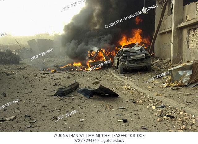 "IRAQ Baghdad -- 27 Aug 2006 -- A ""Vehicle Born Improvised Explosive Devise"" or car bomb after exploding on a street outside of the Al Sabah newspaper office in..."