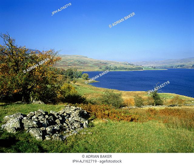 Picturesque autumn scene over Llyn Celyn, a large reservoir in the River Tryweryn valley