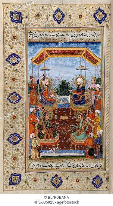 Shah Jahan's ancestors Portraits of Shah Jahan's ancestors as follows: Humayun, Babur, Jahangir and Akbar. A miniature painting from an eighteenth century...