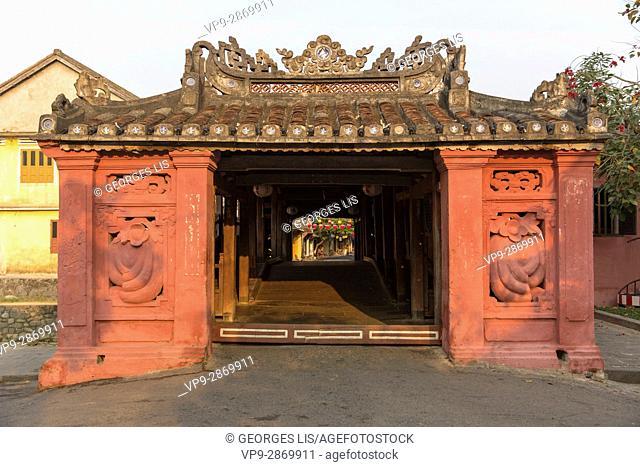 old 1593 year japanese covered bridge Hoi An Vietnam