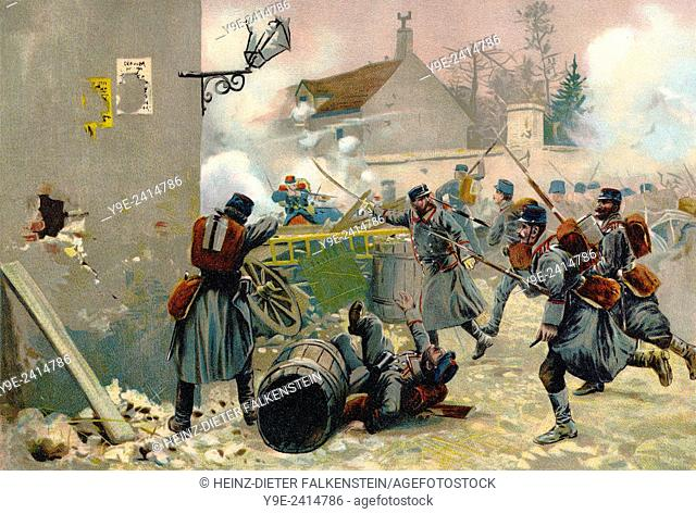 Battle of Villiers or Villiers-Champigny, Bataille de Champigny, 2 December 1870 during the siege of Paris, Franco-Prussian War or Franco-German War, 1870-1871