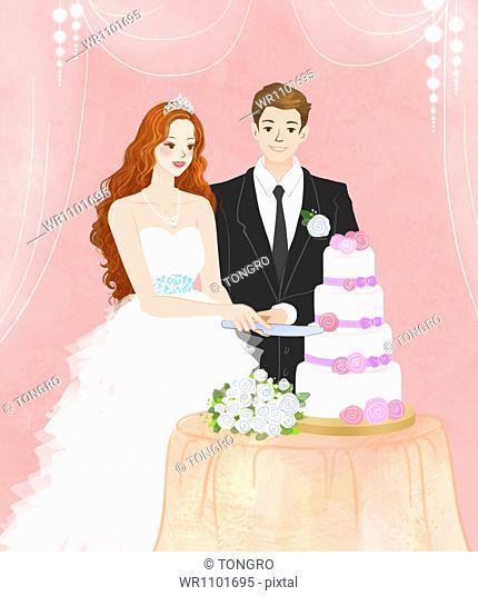 a couple cutting the wedding cake