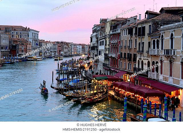 Italy, Veneto, Venice, listed as World Heritage by UNESCO, Grand canal at sunset from Rialto bridge