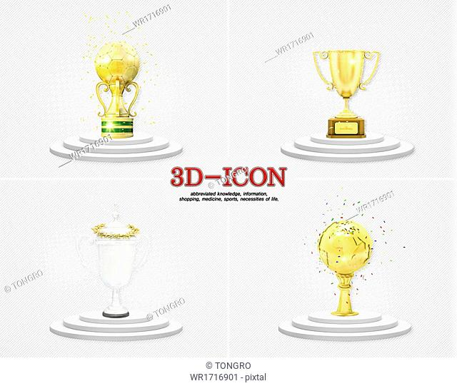 A set of 3D icons related to trophies