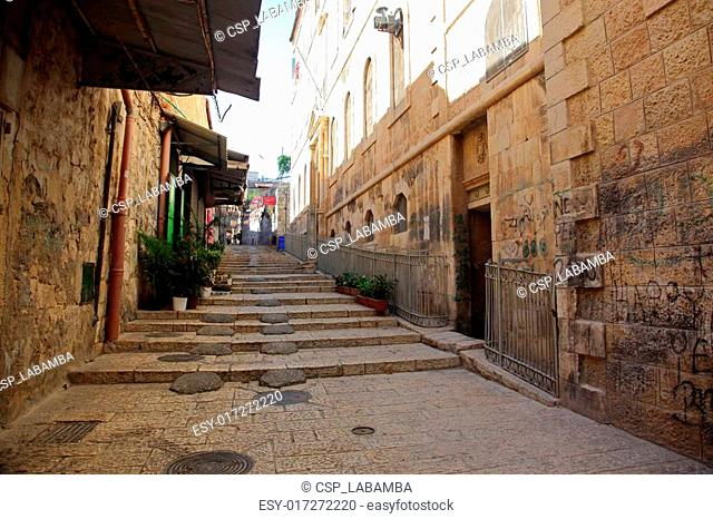 Classic Israel - Street in The old City in Jerusalem