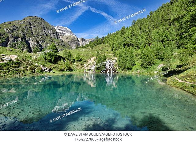 Picturesque Lac Bleu near Arolla, Val d'Hérens, Switzerland