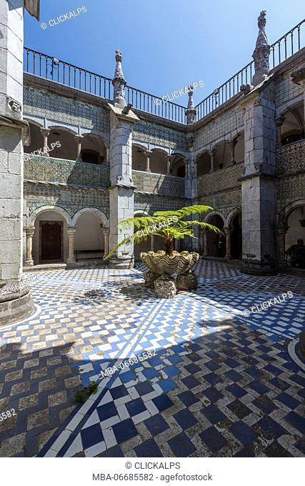 Colors and decoration of the romanticist castle Palácio da Pena São Pedro de Penaferrim Sintra Lisbon district Portugal Europe