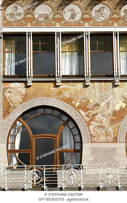 48 RUE DEFACQZ, HOUSE OF THE PAINTER OF BOLOGNESE ORIGIN ALBERT CIAMBERLANI, FACADE WITH THE GEOMETRIC STYLE OF ART NOUVEAU