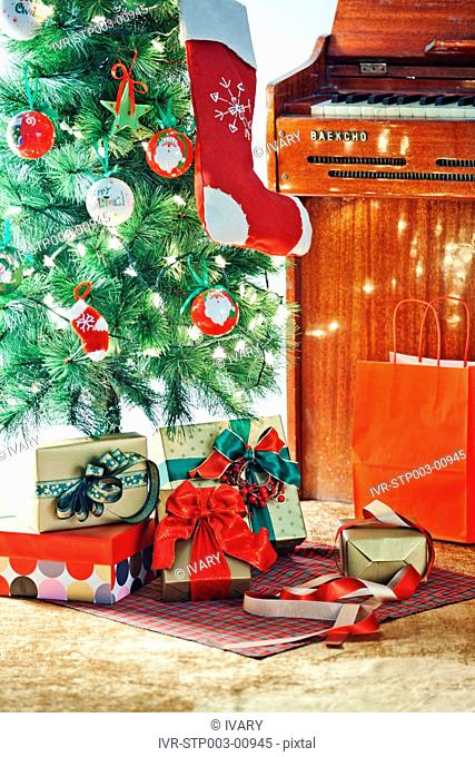 Gifts Near The Decorative Christmas Tree
