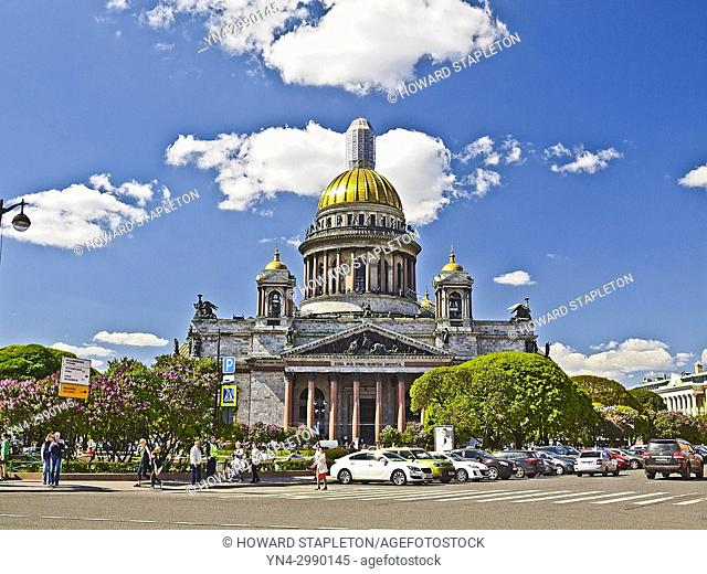 St. Isaac's Cathedral, St. Petersburg, Russia. The golden cupola, is said to be gilded with about 220 pounds (100 kg) of pure gold