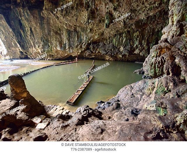 Exploring the Tham Lod Cave by bamboo raft, Pang Mapha Thailand