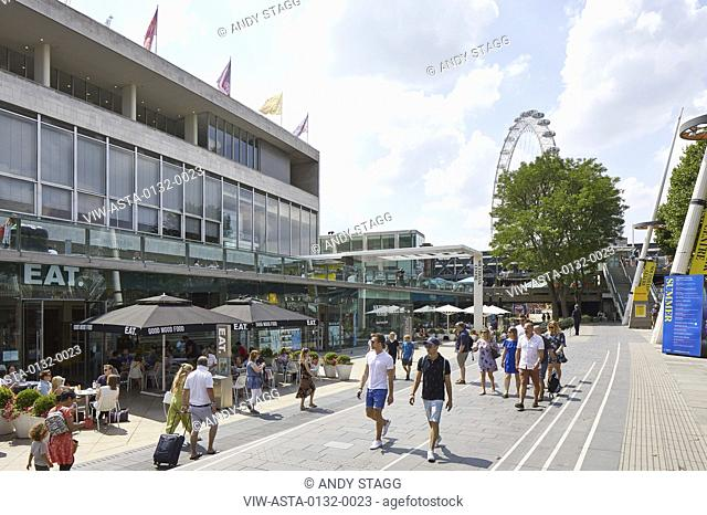 View along Royal Festival Hall with promenade. Southbank Master Plan, London, United Kingdom. Architect: Mica Architects, 2018