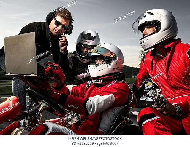 Kart Racing. Tarifa, Costa de la Luz, Cadiz, Andalusia, Spain, Southern Europe