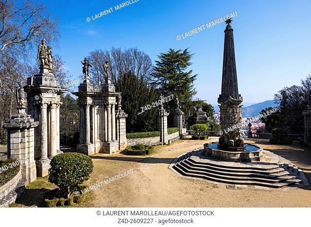 Courtyard of the Kings with the Fountain of the Giants to Sanctuary of Our Lady of Remedies. Lamego, Viseu District, Norte Region, Portugal, Europe