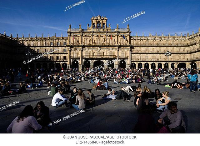Main Square and Town Hall, Salamanca, Castilla y León, Spain