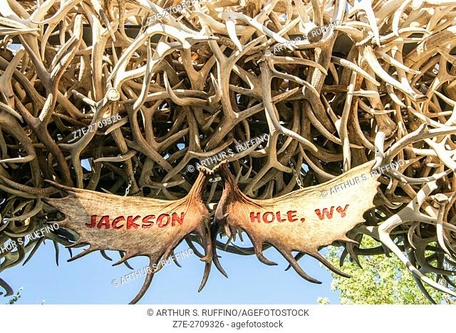 Close-up of Elk Antler Arch, Jackson Town Square, Jackson, Wyoming, United States of America
