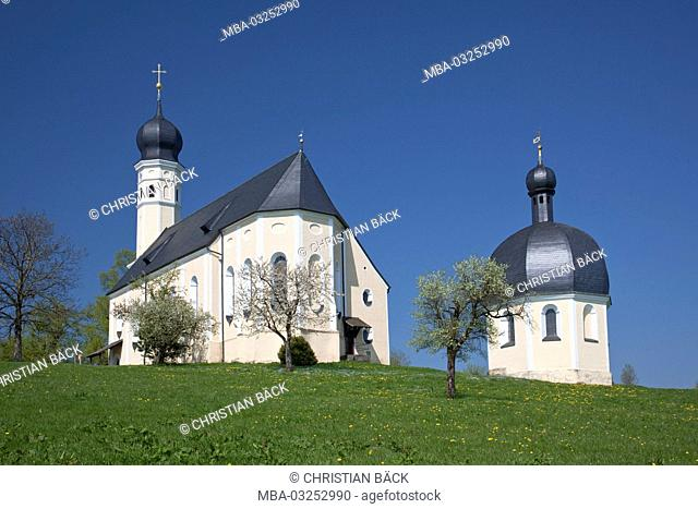 Pilgrimage church Saint Marian and Anian at the Irschenberg, Tegernsee valley, Upper Bavaria, Bavarians, South Germany, Germany
