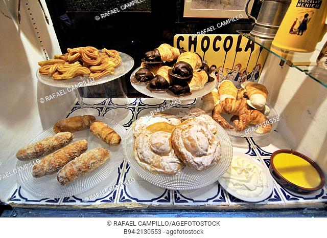 Tipical Catalan sweet pastries in Carrer Petritxol street, Gothic area, Ciutat Vella district, Barcelona, Catalonia, Spain