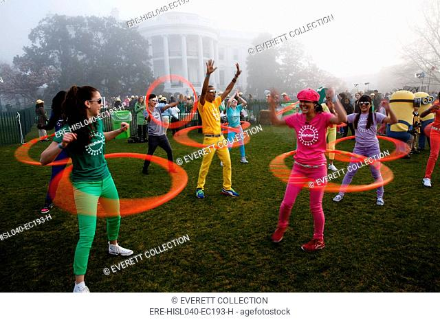 Kid Tribe hula hoopers perform during the White House Easter Egg Roll. South Lawn, April 1, 2013 (BSLOC-2015-13-177)