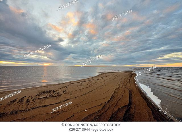 Shore of Great Slave Lake with sandspit at dusk, Hay River, Northwest Territories, Canada
