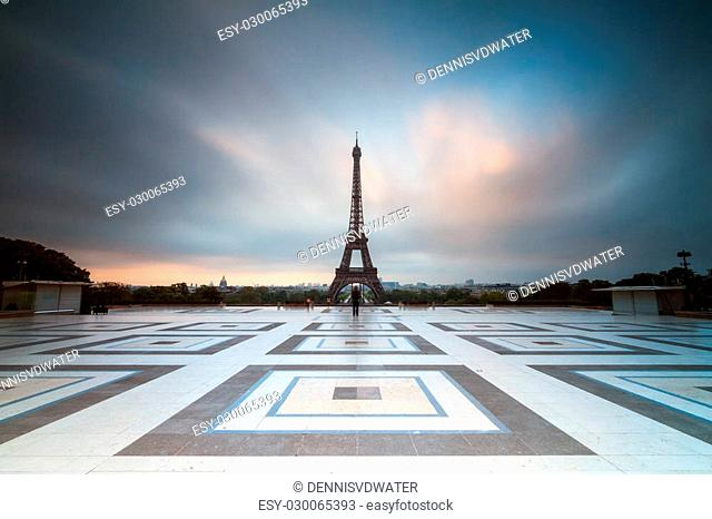 Beautiful view of the Eiffel tower seen from Trocadero square in Paris, France