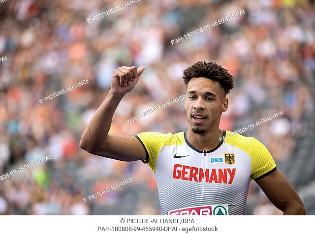 08.08.2018, Berlin: Track and Field: European Championships in the Olympic Stadium: 200m, preliminary round, Men: Steven Müller from Germany in action