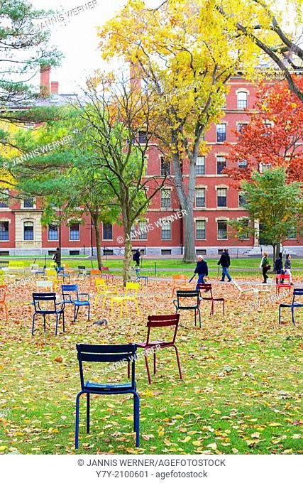 CAMBRIDGE, MA, USA: Harvard Yard, old heart of Harvard University campus, after Fall rains in Cambridge