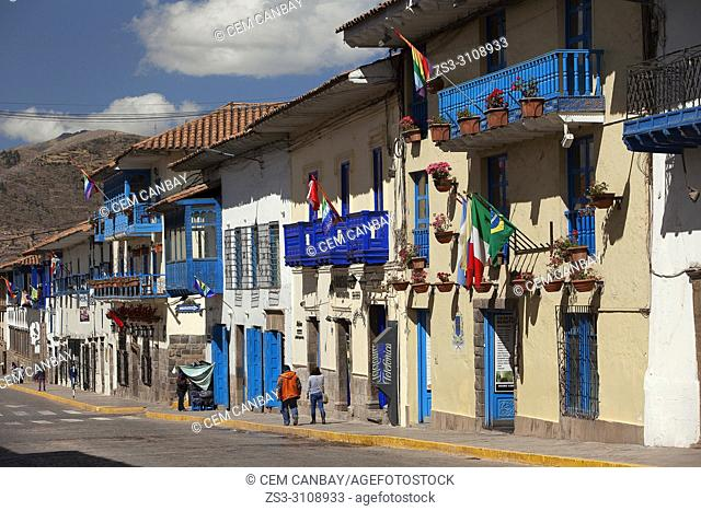 Colonial buildings with balconies at the historic center, Cusco, Peru, South America