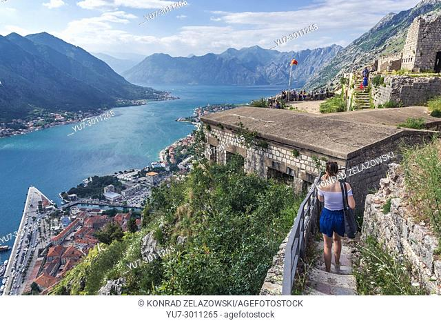 Remains of ancient fortress on Saint John hill above Kotor coastal city, located in Bay of Kotor of Adriatic Sea, Montenegro