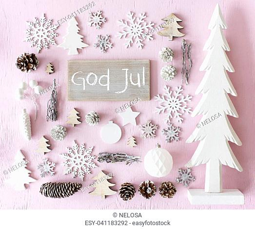 Sign With Swedish Text God Jul Means Merry Christmas. Flat Lay Of Christmas Decoration Like Tree, Ball, Star And Fir Cone