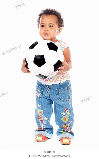 Baby with soccer ball a over white background