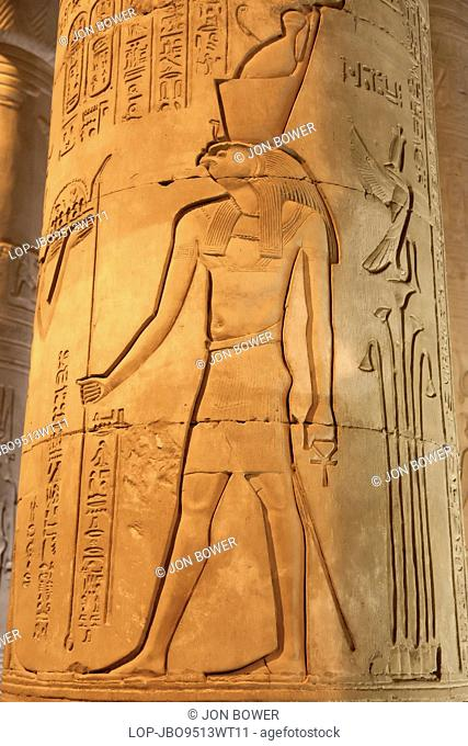 Egypt, Aswan, Kom Ombo Temple. A carving of the god Horus in the Kom Ombo Temple