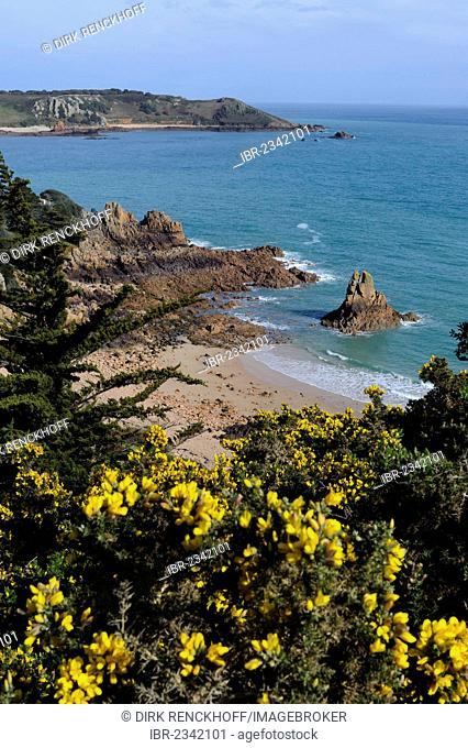 Beach of Beauport in the southwest, island of Jersey, Channel Islands