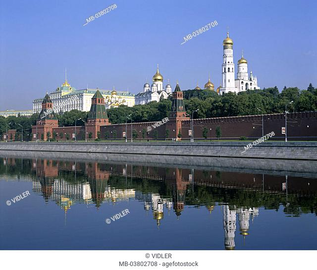 Russia, Moscow, view at the city, Kremlin, Moskwa,   Series, capital, Kremlin wall, Backsteinmauer,  Kremlin palace, Eckturm, churches, cathedrals, tower