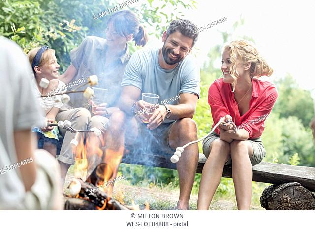 Happy family and friends roasting marshmallows at the campfire