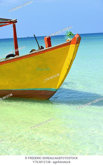 Traditional long-tail boat at Long beach, Koh Rong island, Cambodia, South East Asia, Asia