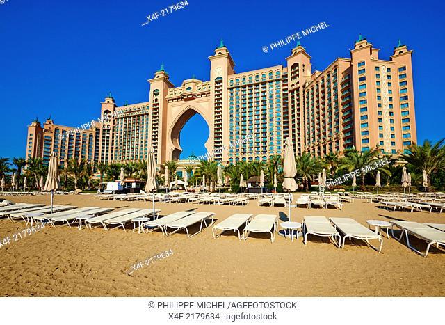 United Arab Emirates, Dubai, Marina Dubai, the Palm Jumeirah, Atlantis hotel