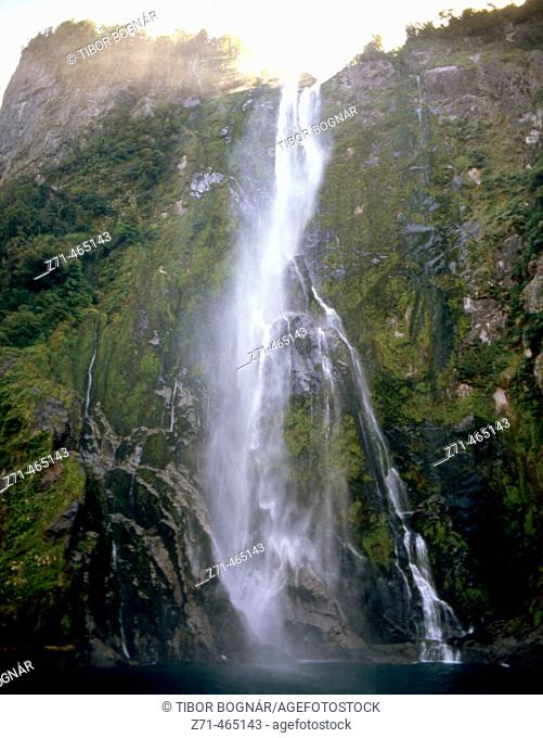 Milford Sound, Stirling Falls. Fiordland N.P. New Zealand