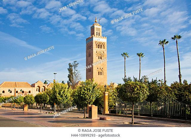 Morocco, North Africa, Africa, Marrakech, Koutoubia, mosque, Koutoubia, tower, rook, trees