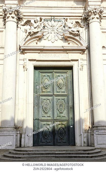 Giant doors on Baroque Chiesa di Santa Maria Assunta, known as I Gesuiti, Campo dei Gesuiti, Cannaregio, Venice, Veneto, Italy, Europe